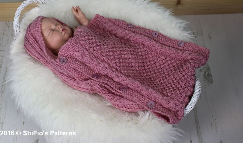 KP358 KNITTING PATTERN For Baby Sleeping Bag, Cocoon, Papoose Knitting Pattern PDF 358 Digital Download