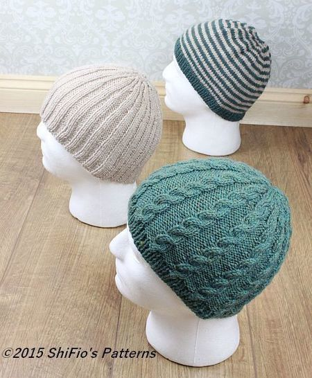 KP310 Mens Hat's Pattern, beanies, cable beanie, ribbed beanie, striped beanie, Knitting Pattern #310