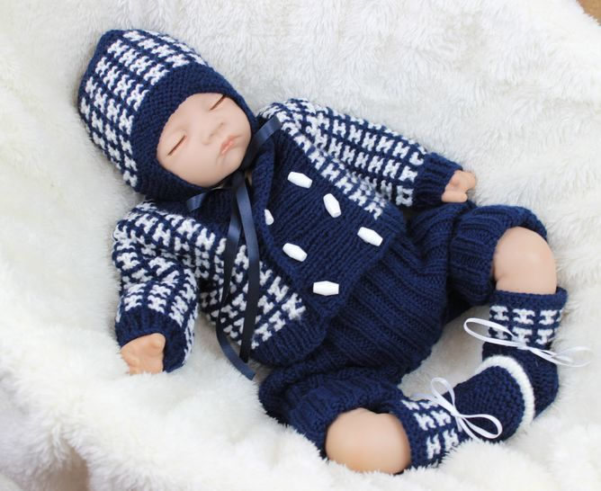 KP322 Boys jacket, hat, shorts and booties baby knitting pattern #322