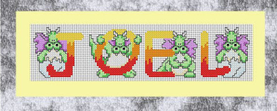Draconic Alphabet in cross stitch