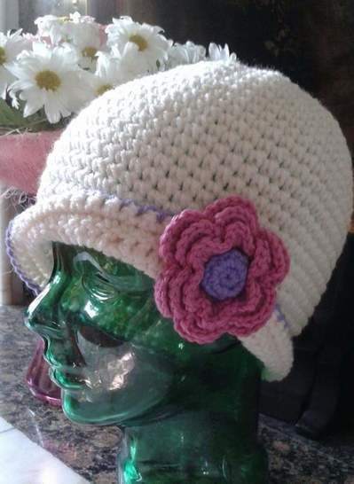 Ladies Cloche with Rose crochet pattern
