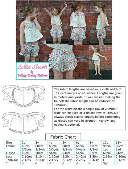 Girls Ruffled Shorts sewing pattern