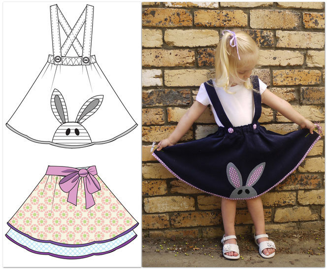 Girls skirt sewing pattern - Topsy Twirly Skirt with applique.