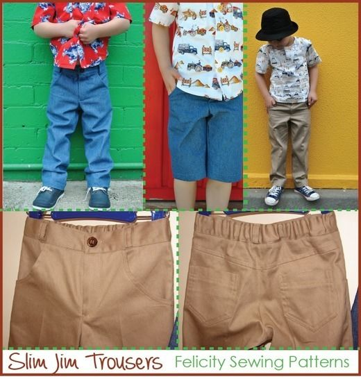 PDF sewing pattern for boys casual trousers -- Slim Jim Pants