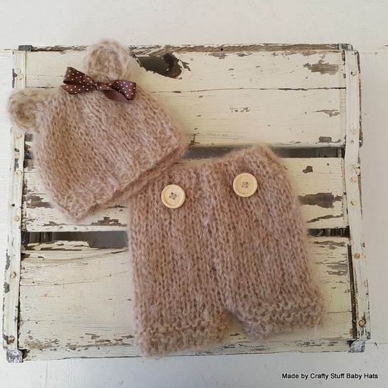 Baby Bear Beanie and Shorts set