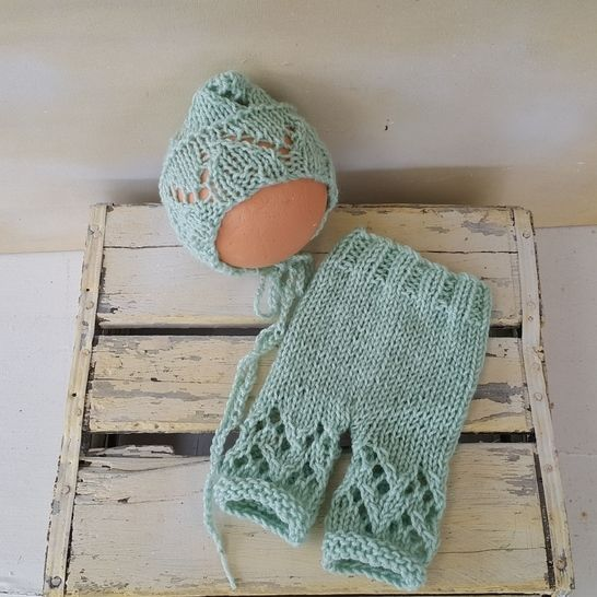 Lacy Newborn Bonnet and Pants set