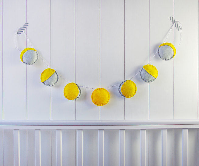 Felt Phases of the Moon Garland Sewing Tutorial