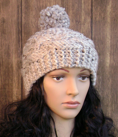 Cable Banded Beanie - Knit Pattern - Women's