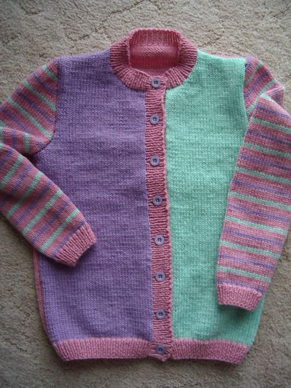 Three colour 8ply cardigan - knitting pattern - Phoebe