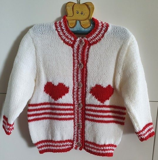 Girl's 8ply cardigan with hearts and striped bands - Pippa