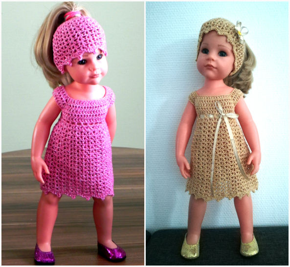 Doll outfit Glamour Crochet pattern 18-inch doll