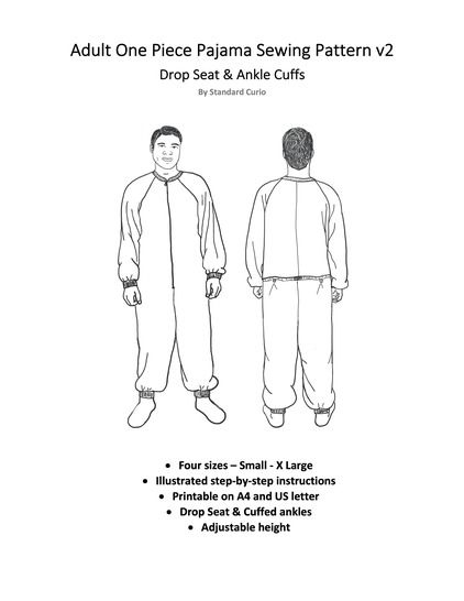 Adult Onesie - v2 Drop Seat & Ankle Cuffs - Small - X Large
