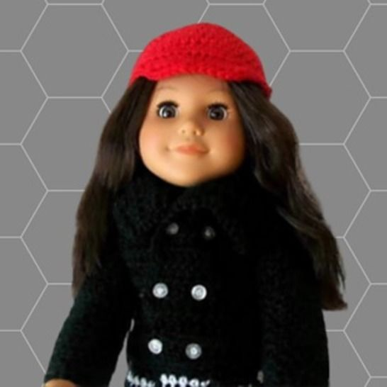 "Pattern for 18"" Doll, Crochet Doll Skirt and Coat Pattern"