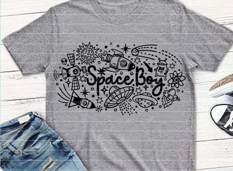 """File """"Space Boy"""" Ironing-picture SVG DXF"""