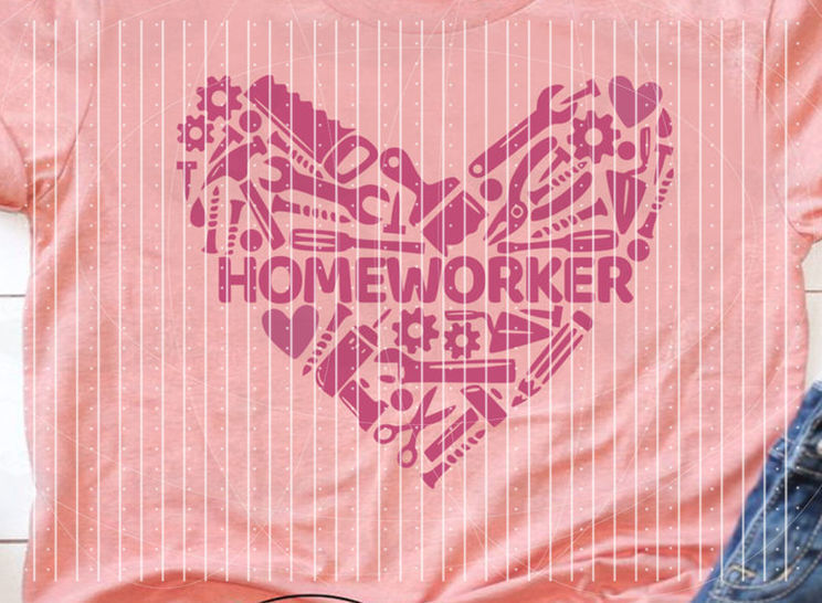 "Cutting file ""homeworker"" for Ironing-picture SVG DXF"