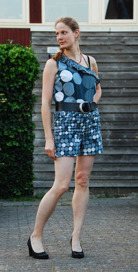 Women one shoulder overall sewing pattern for woven