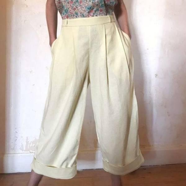 Patron de couture pantalon en coton femme du 34 au 48 niveau intermédiaire