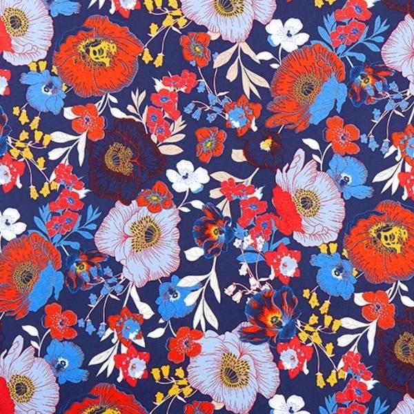 Tissu jersey viscose fleurs multicolores