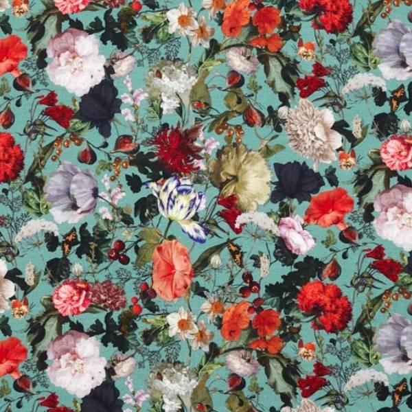 tissu jersey viscose fleuri vert menthe