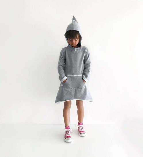 Pixie hood triangle dress with pocket sewing pattern