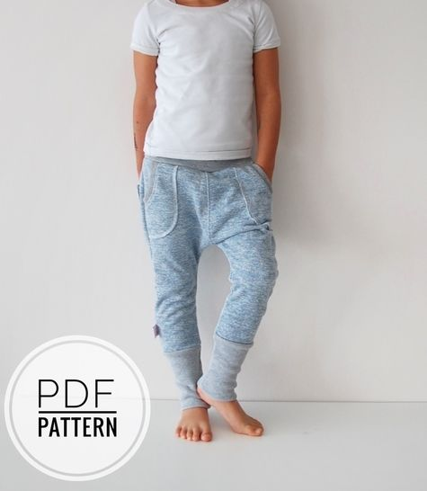 Kids jogger sweat pants harem trousers sewing pattern