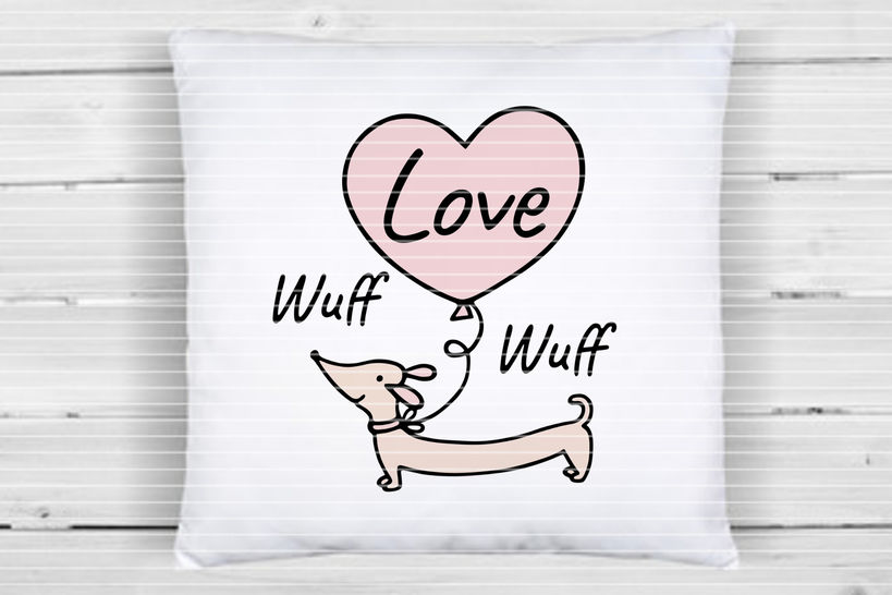 """Cutting file """"Dachshund with a heart"""" SVG DXF"""
