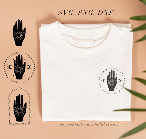 Hand & Sun Cutting File SVG, PNG, DXF
