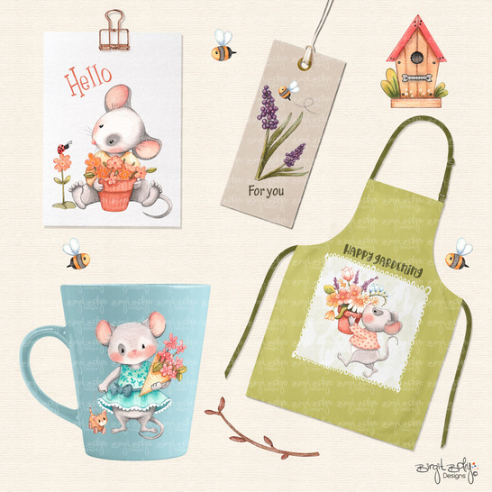 DigiStamp Spring Joy Mice