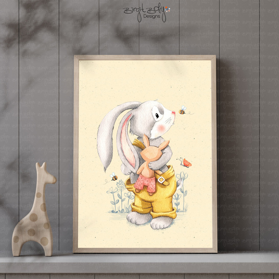Poster Bunny with cuddly toy