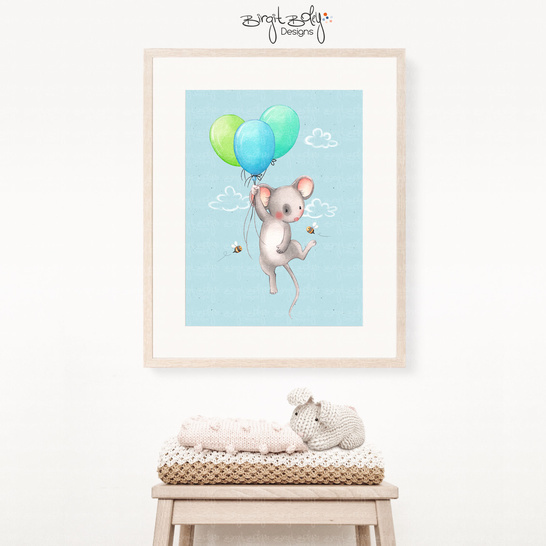 Poster Mouse with balloon