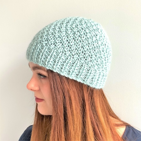 Knitting pdf - Glacier Blue Beanie  - Toddler to l adult