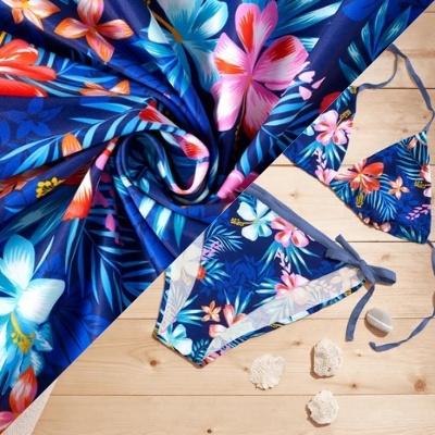 Tissu pour maillot de bain Hawaï bleu marine