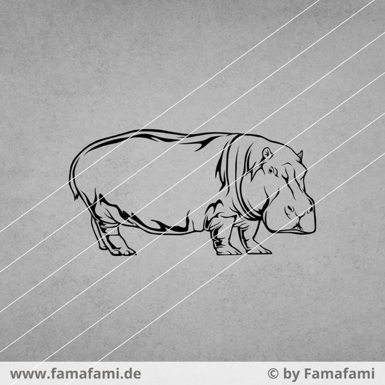 """CUTTING FILE """"HIPPO #2"""" - SVG DXF PNG - FAMAFAMI"""