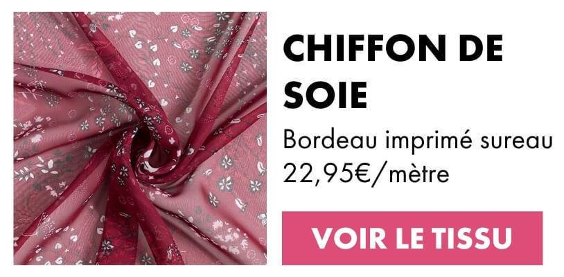 Tissu chiffon de soie sureau Bordeaux
