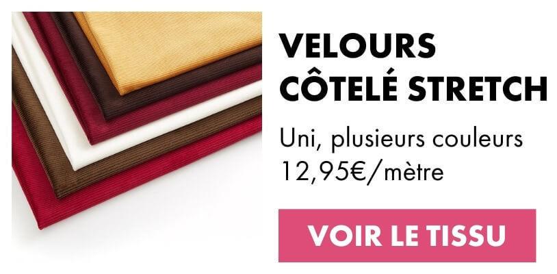 Tissu velours côtelé large stretch
