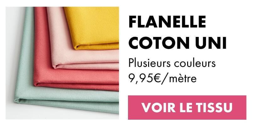 Tissu flanelle coton uni rose