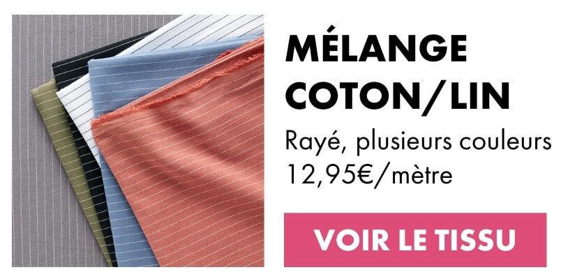 Tissu pour chemisier coton/lin rayé