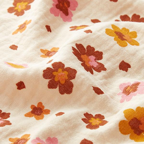 Tissu double gaze de coton fleurs