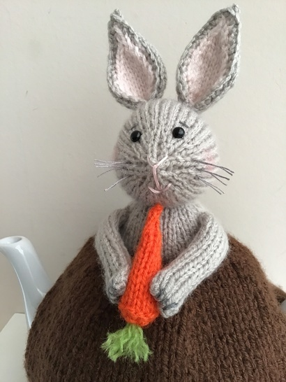 Bunny in the veg patch tea cosy to fit a 6 cup teapot