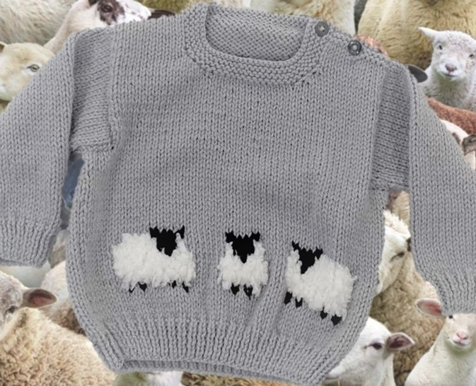 Aran Baby Sheep Sweater and Hat