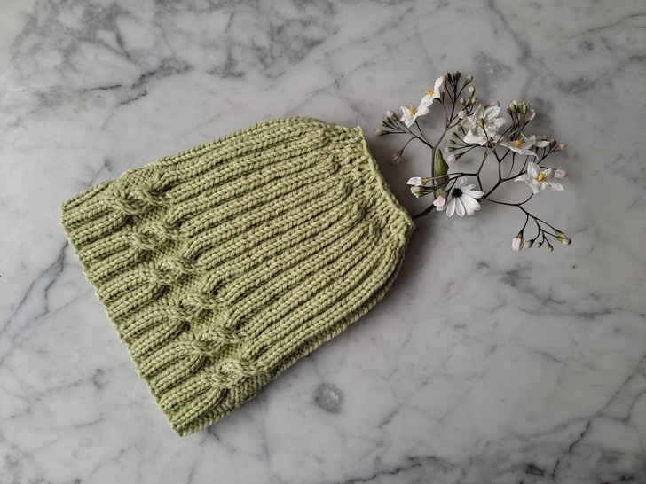 Simple Cable Messy Bun Hat