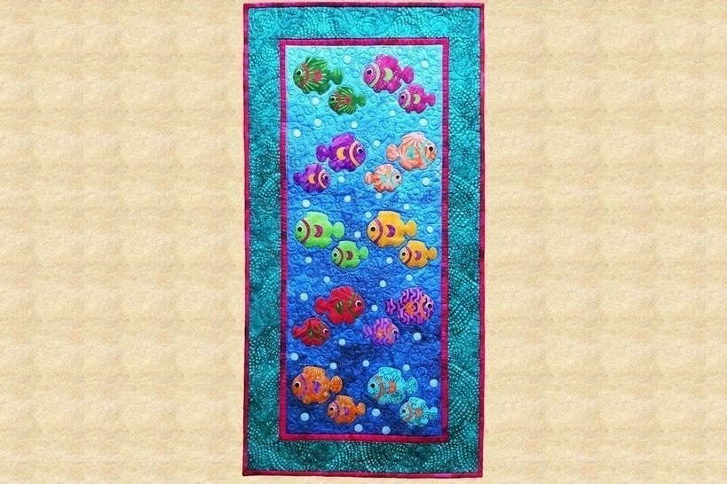 One Fish, Two Fish Gequilteter Wandbehang Anleitung