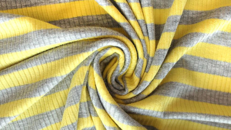 Gelb-grauer Ripp-Viskosjersey: Streifen - 145 cm im Makerist Materialshop - Bild 3