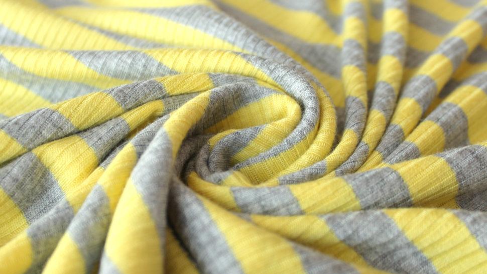 Gelb-grauer Ripp-Viskosjersey: Streifen - 145 cm im Makerist Materialshop - Bild 4