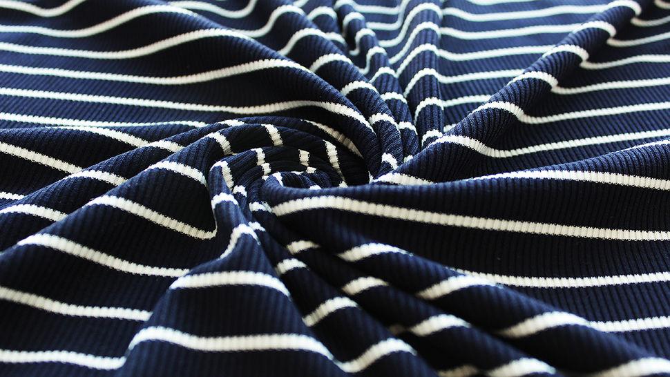 Navy-weißer Cotelé Jersey: Streifen - 145 cm im Makerist Materialshop - Bild 4