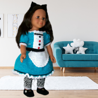 "18"" Alice in Wonderland Doll Dress Pattern"
