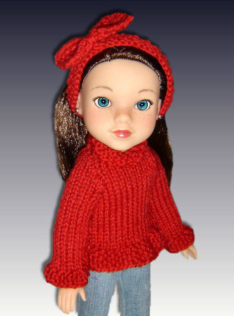 "Ruffle edge doll sweater, fits 14"" dolls."