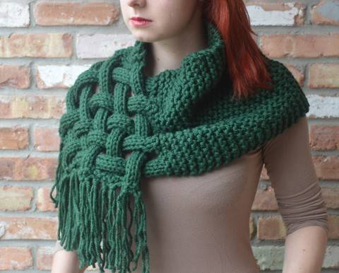 Knit woven scarf - Detailed knitting pattern