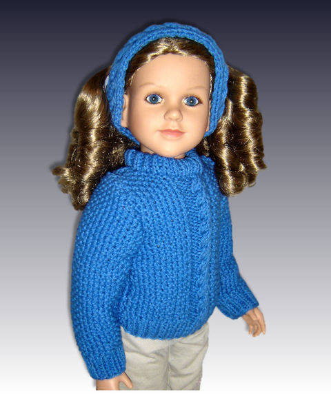 "Cable Pullover Sweater, fits 23"" dolls."
