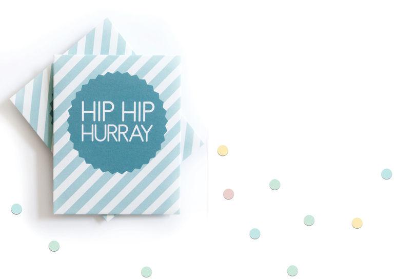 """Konfettitütchen """"Hip Hip Hurray"""" pdf zum Selberdrucken für Hochzeiten, Taufen und andere Feiern bei Makerist - Bild 1"""